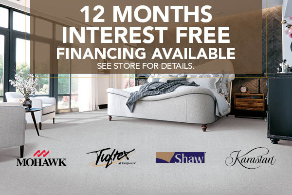 12 Months interest free financing available at Abbey Carpitol Flooring & Interiors!  See store for details.
